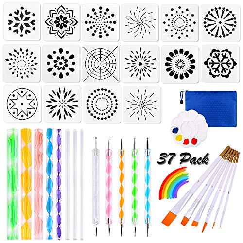 37 Pieces Mandala Dotting Art Tools Stencil Set, Mandala Rock Painting Tools Supplies Kit