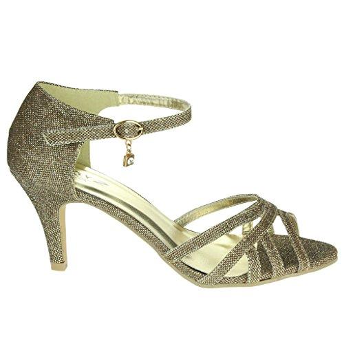 Frau Damen Abend Hochzeit Party Abschlussball Braut Sparkly Fesselriemen Mid Heel Sandalen Schuhe Größe Braun