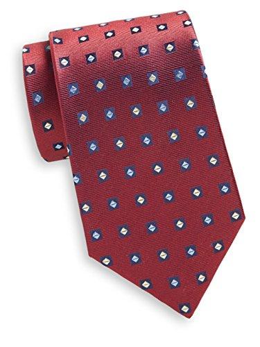 Yves Saint Laurent Men's Diamond Print Silk Tie, OS, Red by Yves Saint Laurent