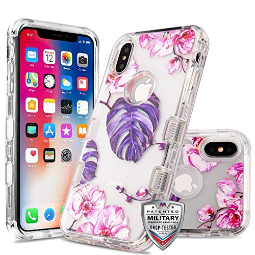 Case+Tempered_Glass+Stylus, TUFF Lucid Hybrid Protector Cover [Military-Grade Certified] Fits Apple iPhone X/XS/10 MYBAT Transparent Clear/Violet Monstera Purple Leaves Pink Flowers