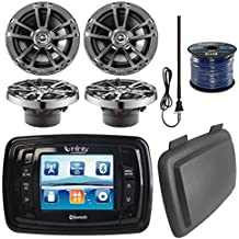 """Infinity PRV350 Marine 3.5"""" Display Bluetooth Stereo Receiver W/ Cover, Bundle Combo With 4x 6.5"""" Inch 225-Watt 2-Way Boat Speakers"""