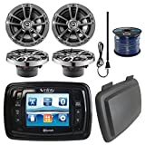 Infinity PRV350 Marine 3.5'' Display Bluetooth Stereo Receiver W/ Cover, Bundle Combo With 4x 6.5'' Inch 225-Watt 2-Way Boat Speakers