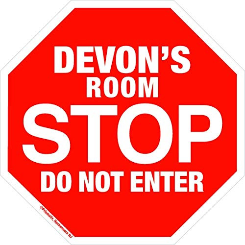 Devon Stop Its My Room Sign - Official Looking Personalized Name Sign - Wall Hanging for Childrens Room Door/Locker/Office (Novelty Decals, Street Signs)