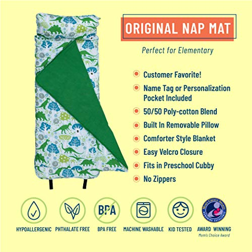 Wildkin Original Nap Mat with Pillow for Toddler Boys and Girls, Ideal for Daycare and Preschool, Measures 50 x 1.5 x 20 Inches, Mom's Choice Award Winner, BPA-Free, Olive Kids (Dinomite Dinosaurs)