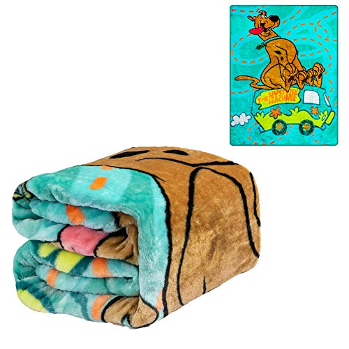 JPI Warner Bros. Scooby Doo Twin Plush Blanket - Mystery Machine - Officially Licensed - Super Soft & Thick - 60'' x 80'' - 100% Polyester