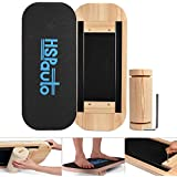 "HSPauto Wooden Balance Board, Balancing Board W/Special Orbit Design & 27.6"" Wood Standing Desk Anti-Slip Surface & Roller for Surf, SUP, Wakesurf, Wakeskate, Ski, Snowboard and Skateboarding"