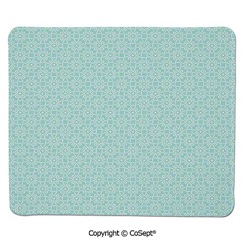 (Quality Selection Comfortable Mouse Pad,Aqua Celtic Style Twisted Crossed Repeating Circle Figures and Bent Line Webs Graphic Decor,for Computer,Laptop,Home,Office & Travel(15.74