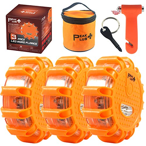 PeakPlus LED Road Flares Emergency Lights [3 Pack] Car Roadside Emergency Kit with Screwdriver Window Breaker Seat Belt Cutter and Bag - Warning Safety Discs Beacon Light with Hook & Magnetic Base