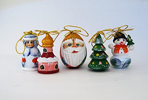(Ass.Wood Carved Russian Santa Ornament - Ded Moroz 3.5