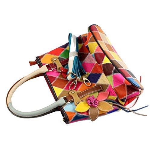 et Keshi EPAULE Multicolore Sac à MAIN Porté femmes main Vache cuir De w4Yqwx