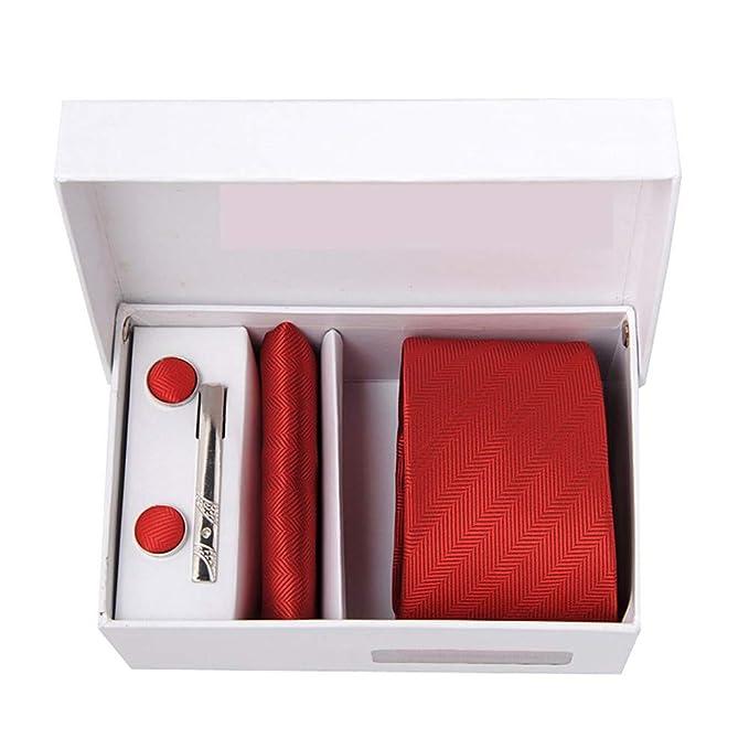 XXDWZLJ Corbatas Corbata roja para hombre + gemelos + toalla ...