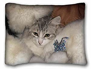 Soft Pillow Case Cover Animal Custom Cotton & Polyester Soft Rectangle Pillow Case Cover 20x26 inches (One Side) suitable for King-bed