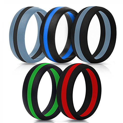 Him Design (Silicone Ring Perfect Gift for Father's and Mother's Day, Wedding Silicone Ring Band Men Rubber Women 1 Gym Crossfit Pcs Sport Outdoor Flexible Modern Rings / Design Silicone Rubber Bands(5 color, 9))