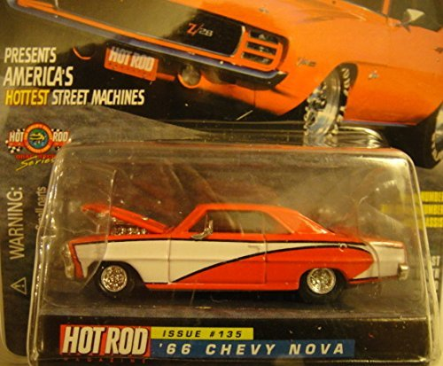 RACING CHAMPIONS HOT ROD MAGAZINE DRAG RACING SERIES 1 OF 9,999 ISSUE #135 RED AND WHITE 1966 CHEVY NOVA DIE-CAST from Racing Champions