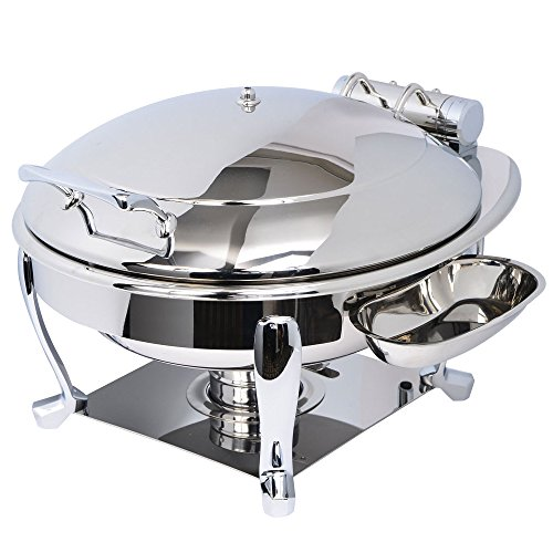 Eastern Tabletop 3938S Crown 6 Qt. Stainless Steel Round Induction Chafer with Freedom Stand and Hinged Dome Cover