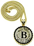 Black Wall Street Iced Out Pendant Necklace Gold Color With 36 Inch Franco Style Chain