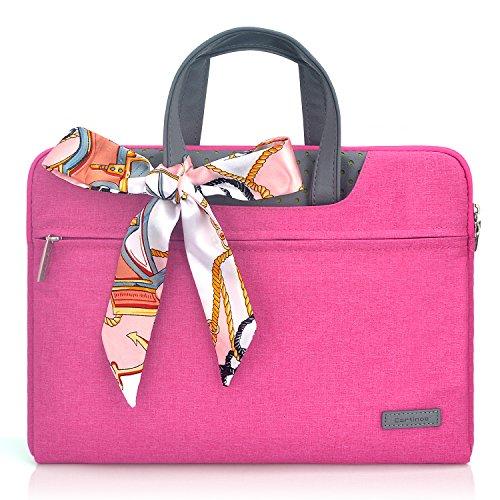 (Fashion Women Handbag Laptop Briefcase Business Office Tote Bag Portable Handbag for Men Women Sleeve Bag for 11-11.6 inch Tablet Laptop Case MacBook Chromebook Protective Bag for Ladies, Pink)