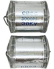 2PCS 30KV 3000PF CB80 Axial Leaded Polystyrene Film High Voltage Capacitor DC Condenser Capacitor Use for Marx Generator/HV Ham Radio / 3D Printer