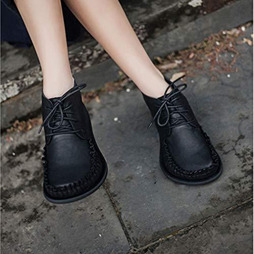 Redonda 35 Botas Caminar Al Libre De Yan 2019 Cremallera Aire Mujer Nuevo Zapatos Cabeza Cuero Señoras black Antideslizante Martin Vintage Zapatos B8fqSnfxT