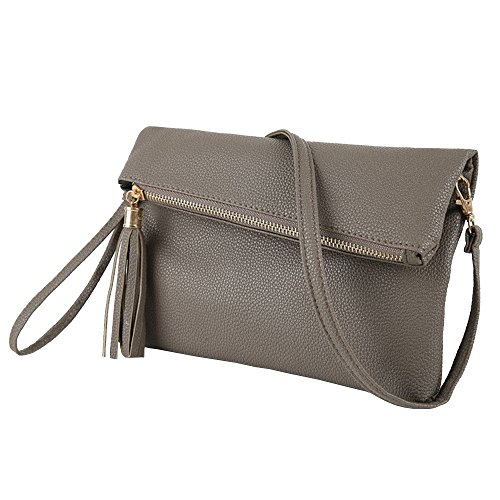Tassel Evening Purse (Sibalasi-Foldover Tassel Crossbody Bag Clutch Evening Envelope Purse Wristlet Black Lightweight Simple Bag (Dark grey))