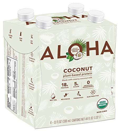ALOHA Organic Plant Based Protein Drink, Coconut, Gluten Free, Non-GMO, Stevia Free, Soy Free, Dairy Free, 11 oz, 12 servings