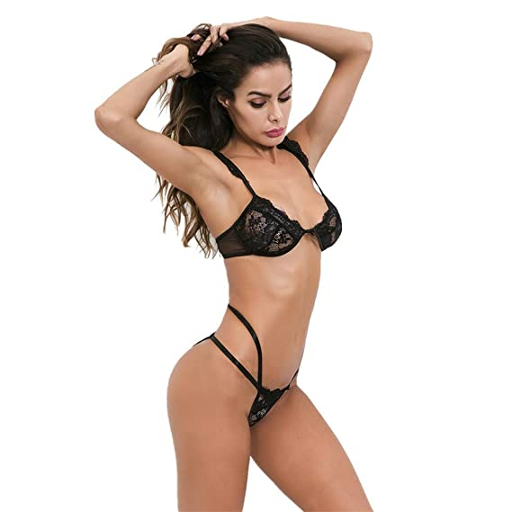 Amazon.com: Mnyycxen Womens Lingerie Lace Bra Bralette and Panty Set Deep V 2 Piece Babydoll Bodysuit: Clothing