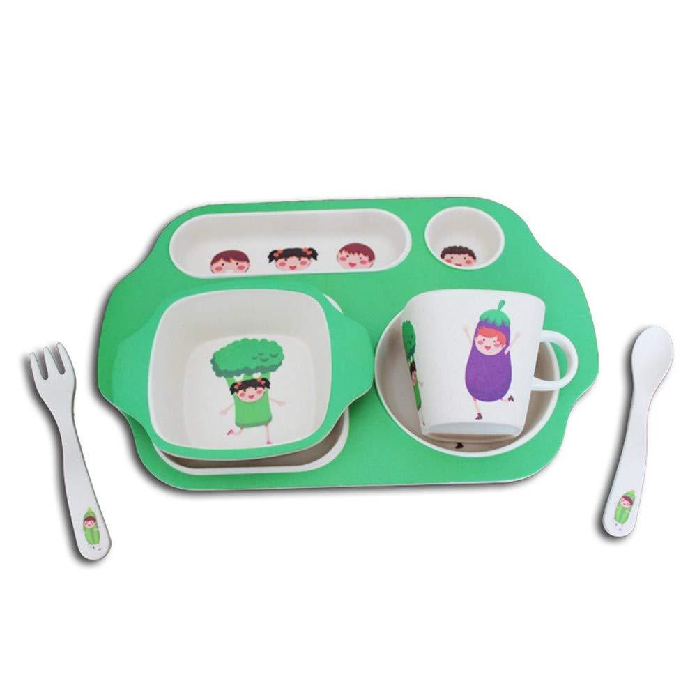 YQSMB Bamboo Fiber Material Children Tableware 5Pcs Tableware Cartoon Pattern Baby Tableware Cup Bowl Tray Fork Set Children's