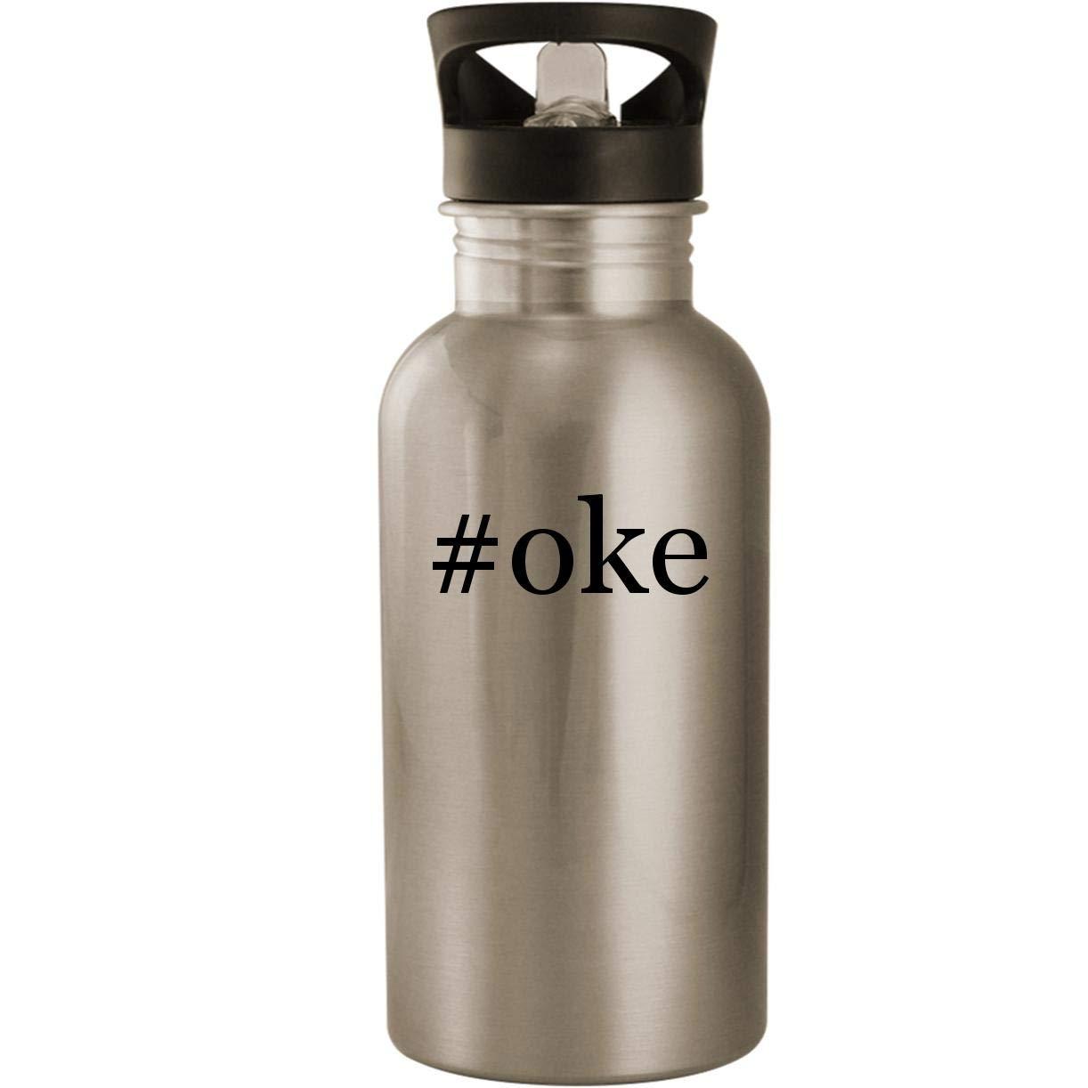 #oke - Stainless Steel Hashtag 20oz Road Ready Water Bottle, Silver
