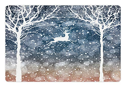 Ambesonne Christmas Pet Mat for Food and Water, Dreamy Display with Deer Animal Poinsettia International Holiday Graphic, Rectangle Non-Slip Rubber Mat for Dogs and Cats, Blue and White