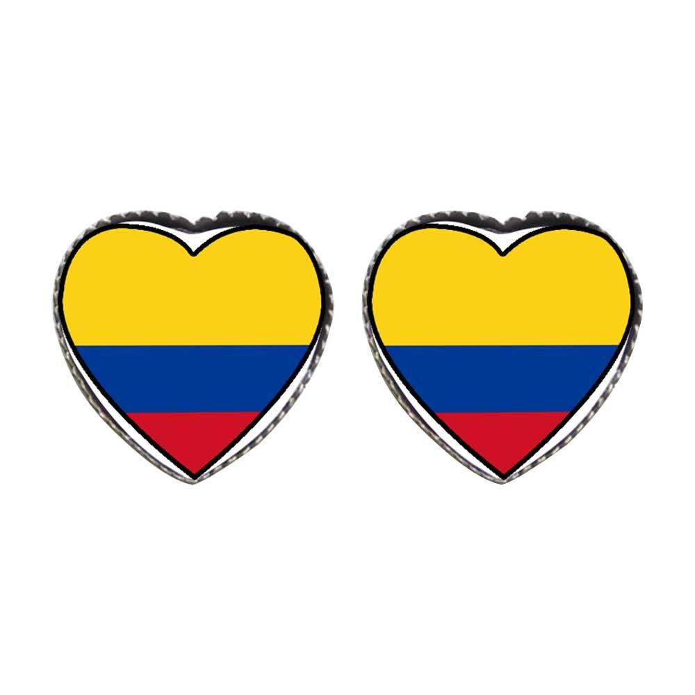 GiftJewelryShop Bronze Retro Style Colombia flag Photo Stud Heart Earrings #12
