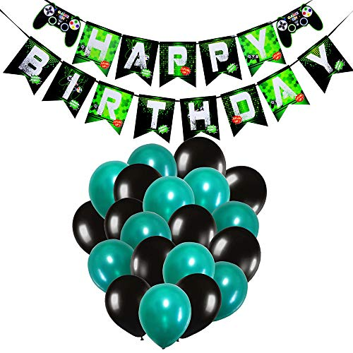 WERNNSAI Video Game Party Decorations - Game Party Supplies for Boys Kids Birthday Game Themed Party Including Happy Birthday Banner Black Green Latex Balloon Ribbon 23 Pieces -