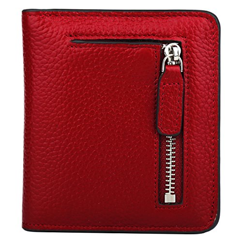 RFID Blocking Wallet Women's Small Compact Bifold Leather Purse Front Pocket Mini Wallet (Wine Red) from GDTK