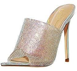 Women's Rhinestone Stiletto Open Toe Heels