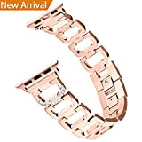 Bling Bands for Apple Watch Band 38mm for Women Men, Hotodeal Metal Replacement Strap for Iwatch Wristband Sport Replacement for Apple Watch, Series 3/ 2/ 1, Nike+, Sport, Edition, Rose Gold