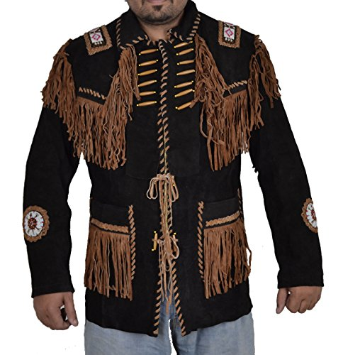 Coolhides Men's Indian Cowboy Suede Leather Jacket Fringed & Beaded Large