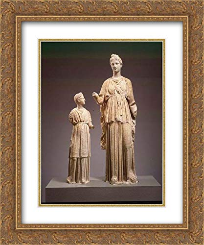 Greek, Attic Culture - 20x24 Gold Ornate Frame and Double Matted Museum Art Print - Marble funerary Statues of a Maiden and a Little Girl