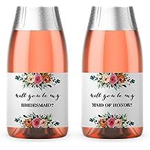"Bridesmaid Proposal ● SET of 8 ● Bridesmaid Mini Champagne Labels, Bridesmaid ASK, Maid of Honor Ask, Ask Matron of Honor, Bridal Party Ask, Wedding Wine labels, 3.5"" x 2"" WATERPROOF Labels M100-ASK-8"