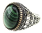 Falcon Jewelry Sterling Silver Men Ring Handmade, Malachite Natural Stone, Express Shipment