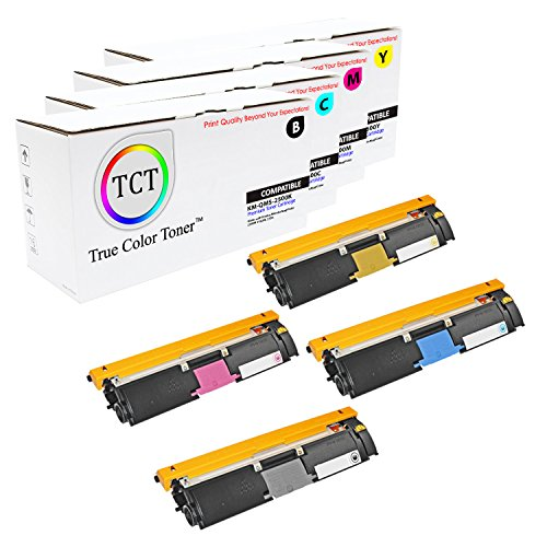 TCT Premium Compatible Toner Cartridge Replacement for QMS 2500 Konica Minolta Magicolor 2500W 2530DL 2550 Printers (Black, Cyan, Magenta, Yellow) - 4 Pack