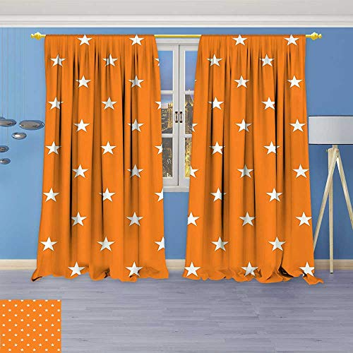 Star Shine Lab Collection (Philiphome Window Treatments Collection Stars Pattern in Autumn Warm Color Traditional Classic Country Style Home Artwork Living Room Bedroom Curtain 2 Panels Set)