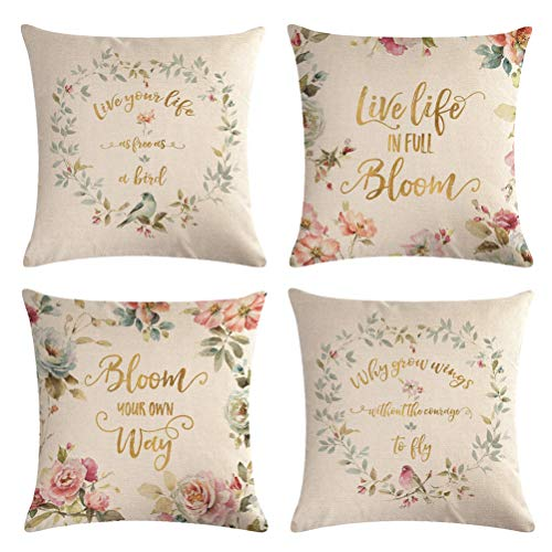 4 Pack Throw Pillow Covers With Colorful Flowers&Birds Pattern