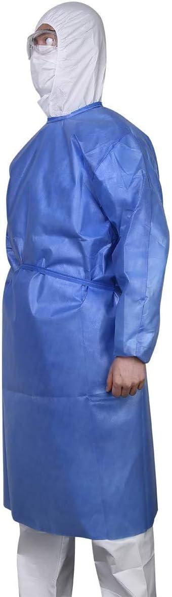 ORIA Overall Schutzkleidung Einweg-Schutzanzug Einwegoverall Schutzkleidung Staubdichter//Spritzschutz//Anti-Spucken Schutzkleidung mit Elastischem Baumwollb/ündchen Voller Schutz Blau Gr/ö/ße XL