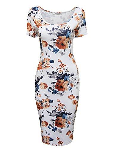 Tom's Ware Women's Sweetheart Short Sleeve Midi Dress TWCWD053-WHITEORANGE-US XL