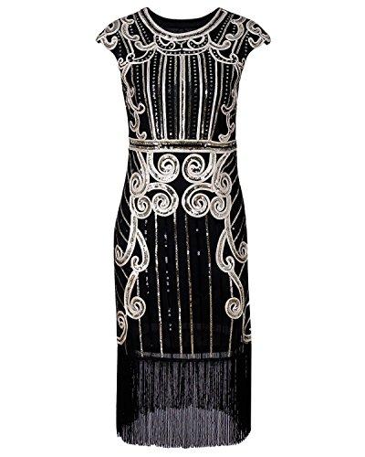 Biubiu Flapper Oro Nappa Gatsby xl S Retrò Paillettes Vestito Donne Delle Cocktail 1920 3 qw7Tzx6