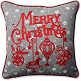 """Pillow Perfect Ornamental Christmas Throw Pillow, 16.5"""", Grey-Red"""