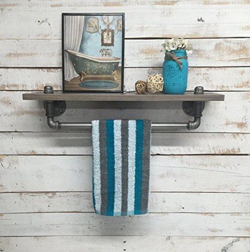 Industrial towel rack shelf, Rustic shelves, industrial decor, bathroom decor home, towel bar shelf, bathroom shelves