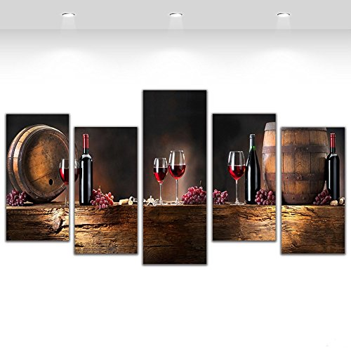 5 Pcs Canvas Art Fruit Grape Red Wine Glass Picture for Kitchen Bar Decor Canvas Prints Wall Paintings With Framed Ready to Hang (Glass Wall Decor Art)