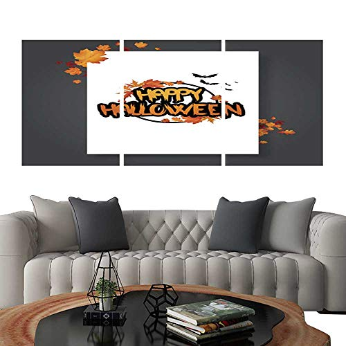UHOO Triptych Paintings Combination DecorativeHalloween Vector Poster Flyer with Autumn Leaves and Happy Halloween Lettering with Grungy Font 6. Bedroom,Hotel so on 24