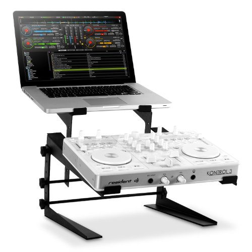 resident dj DJX-250 Doppel DJ Pult Laptopständer 2-fach 2er Rack Stand Notebook Tisch für PC und Controller (2 Ablagen, in Höhe und Breite verstellbar, schneller Auf- und Abbau) schwarz