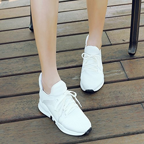 YE Sneaker Stringata Platform Moda Basso Punta Chiusa Donna con Bianco Scarpe FP5Fq